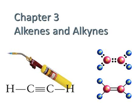 Chapter 3 Alkenes and Alkynes. Unsaturated Hydrocarbons Contain carbon-carbon multiple bonds. Alkenes C=C double bonds Alkynes C≡C triple bonds Aromatics.