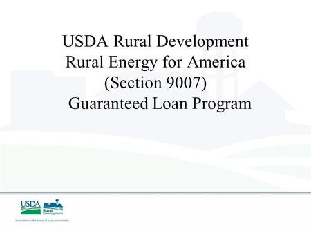USDA Rural Development Rural Energy for America (Section 9007) Guaranteed Loan Program.
