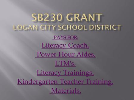 PAYS FOR: Literacy Coach, Power Hour Aides, LTM's, Literacy Trainings, Kindergarten Teacher Training, Materials.