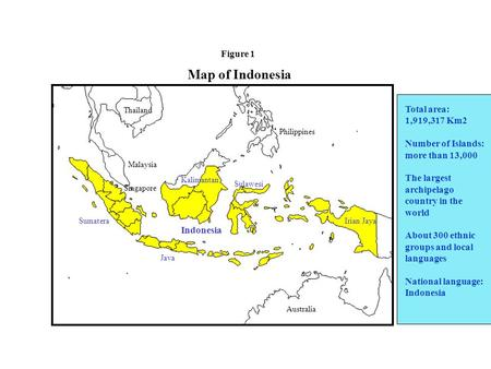 Map of Indonesia Total area: 1,919,317 Km2 Number of Islands: more than 13,000 The largest archipelago country in the world About 300 ethnic groups and.