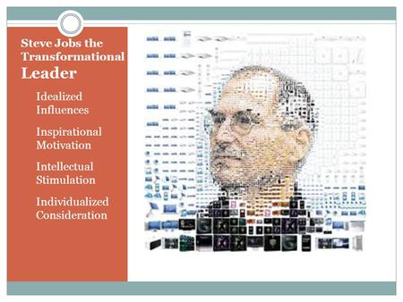 Steve Jobs the Transformational Leader Idealized Influences Inspirational Motivation Intellectual Stimulation Individualized Consideration.