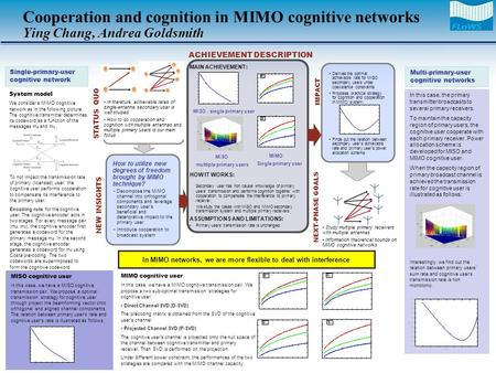 Derives the optimal achievable rate for MISO secondary users under coexistence constraints Proposes practical strategy for cognition and cooperation in.