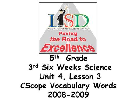 5 th Grade 3 rd Six Weeks Science Unit 4, Lesson 3 CScope Vocabulary Words 2008-2009.