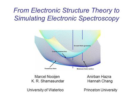 From Electronic Structure Theory to Simulating Electronic Spectroscopy Marcel Nooijen Anirban Hazra K. R. Shamasundar Hannah Chang University of Waterloo.