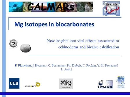 Mg isotopes in biocarbonates New insights into vital effects associated to echinoderm and bivalve calcification F. Planchon, J. Hermans, C. Borremans,