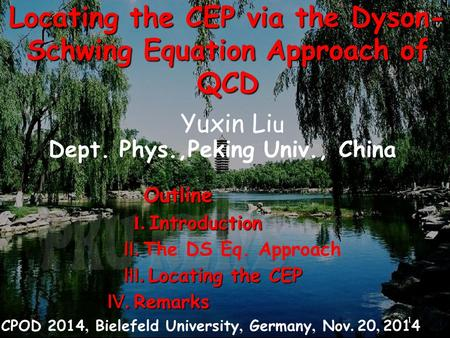 Locating the CEP via the Dyson- Schwing Equation Approach of QCD Yuxin Li u Dept. Phys.,Peking Univ., China CPOD 2014, Bielefeld University, Germany, Nov.