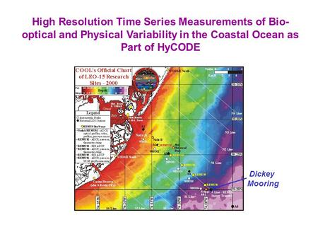 High Resolution Time Series Measurements of Bio- optical and Physical Variability in the Coastal Ocean as Part of HyCODE Dickey Mooring.