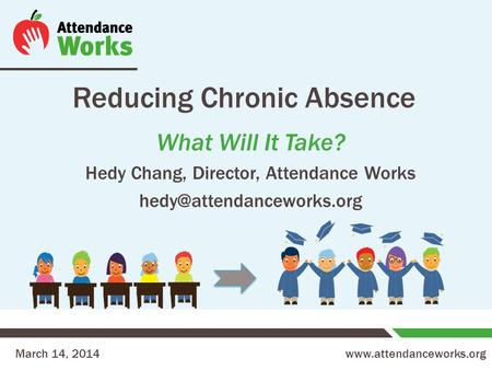 Reducing Chronic Absence What Will It Take? Hedy Chang, Director, Attendance Works March 14, 2014.
