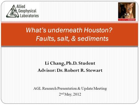Li Chang, Ph.D. Student Advisor: Dr. Robert R. Stewart What's underneath Houston? Faults, salt, & sediments AGL Research Presentation & Update Meeting.