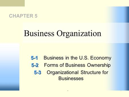 51 CHAPTER 5 5-1 5-1Business in the U.S. Economy 5-2 5-2Forms of Business Ownership 5-3 5-3Organizational Structure for Businesses Business Organization.