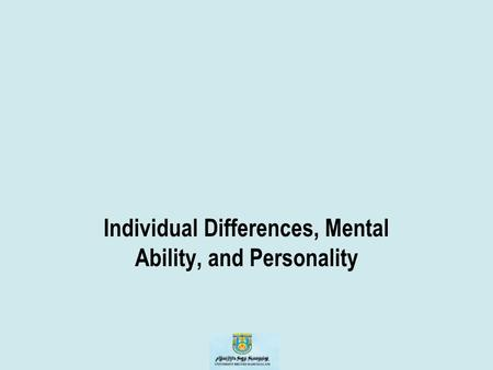 Individual Differences, Mental Ability, and Personality.