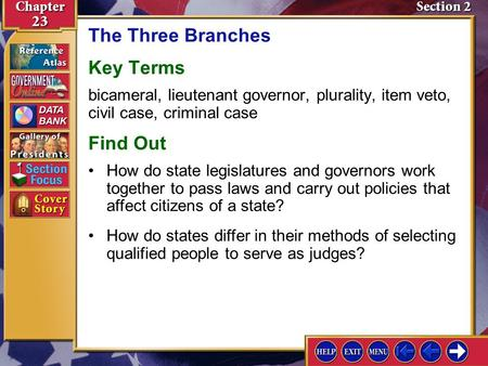 Section 2 Introduction-1 The Three Branches Key Terms bicameral, lieutenant governor, plurality, item veto, civil case, criminal case Find Out How do states.