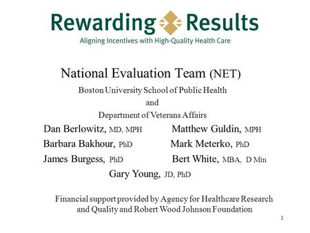 1 National Evaluation Team (NET) Boston University School of Public Health and Department of Veterans Affairs Dan Berlowitz, MD, MPH Matthew Guldin, MPH.