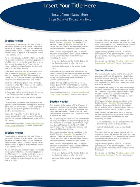 Insert Your Title Here Section Header This template is for making a 36 x 48 poster. If you need a different size go to File > Page Setup and enter the.