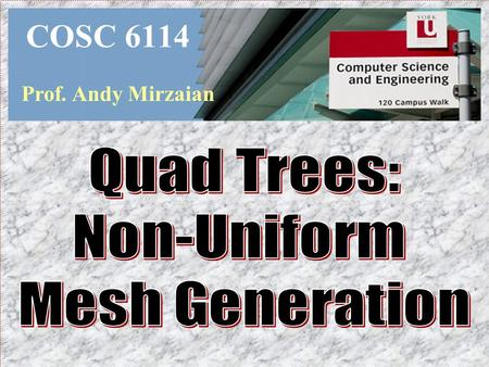 COSC 6114 Prof. Andy Mirzaian Quad Trees: Non-Uniform Mesh Generation.
