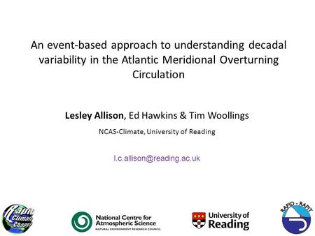 An event-based approach to understanding decadal variability in the Atlantic Meridional Overturning Circulation Lesley Allison, Ed Hawkins & Tim Woollings.