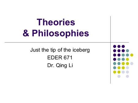 Theories & Philosophies Just the tip of the iceberg EDER 671 Dr. Qing Li.