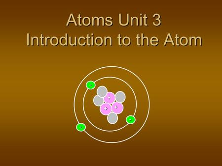 Atoms Unit 3 Introduction to the Atom