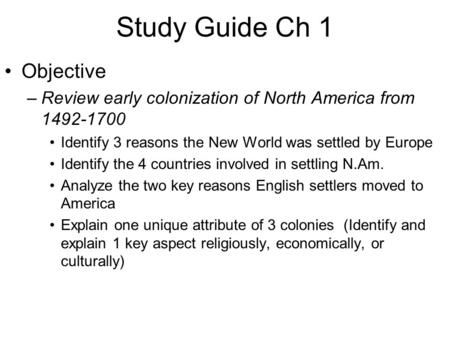 Study Guide Ch 1 Objective