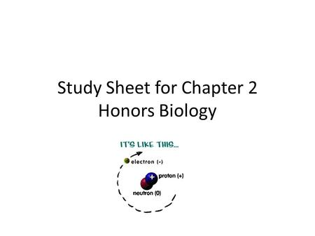 Study Sheet for Chapter 2 Honors Biology. EXTENDED RESPONSE TIPS: EXAMPLE: Surface tension caused by the pulling in of H- bonds of the water molecules.