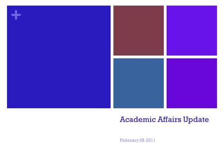 + Academic Affairs Update February 28. 2011. + Objectives Give a balanced view of current situation Update on the roller coaster ride Describe our budget.