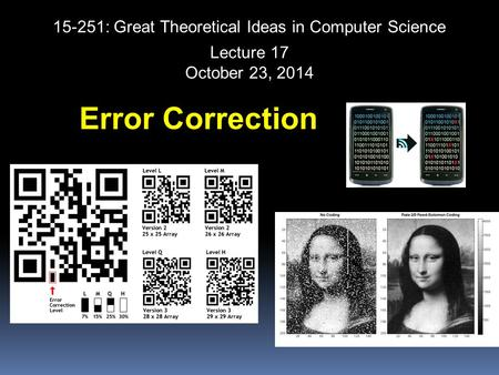 15-251: Great Theoretical Ideas in Computer Science Error Correction Lecture 17 October 23, 2014.