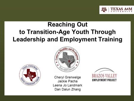 Reaching Out to Transition-Age Youth Through Leadership and Employment Training Cheryl Grenwelge Jackie Pacha Leena Jo Landmark Dan Dalun Zhang.