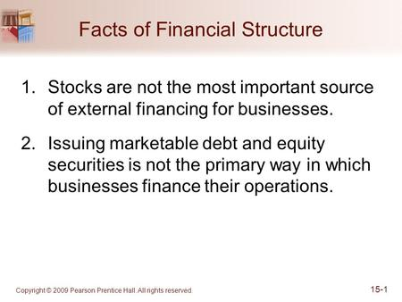 Copyright © 2009 Pearson Prentice Hall. All rights reserved. 15-1 Facts of Financial Structure 1.Stocks are not the most important source of external financing.