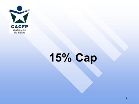 1 15% Cap. 2 Why the Cap is Necessary Center reimbursement covers admin. & operating costs (like school meal rates) More $ kept for admin = less $ for.