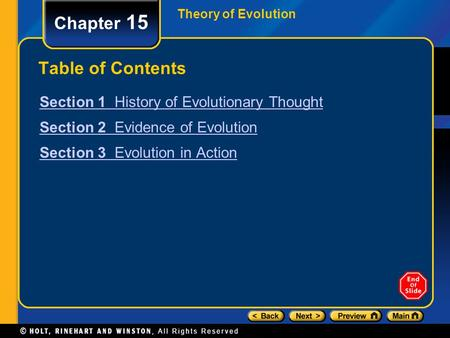Theory of Evolution Chapter 15 Table of Contents Section 1 History of Evolutionary Thought Section 2 Evidence of Evolution Section 3 Evolution in Action.