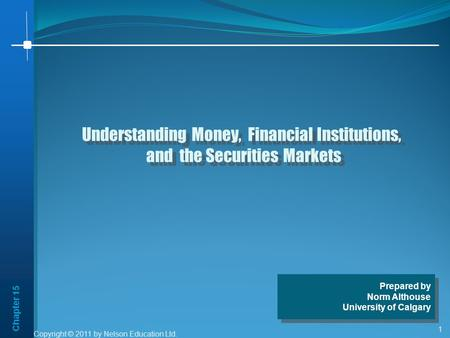 Chapter 15 1 Understanding Money, Financial Institutions, and the Securities Markets Understanding Money, Financial Institutions, and the Securities Markets.