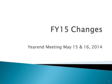 Yearend Meeting May 15 & 16, 2014 1.  Not enough time to cover all of the details of each change  More detailed information will be included in the.