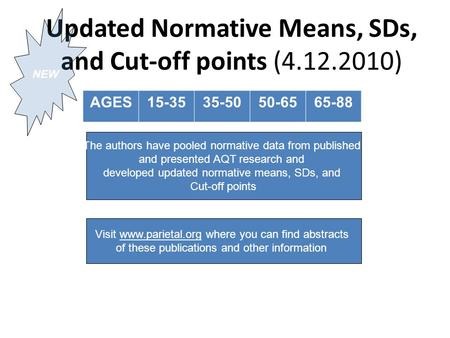 Updated Normative Means, SDs, and Cut-off points (4.12.2010) AGES15-3535-5050-6565-88 Visit www.parietal.org where you can find abstracts of these publications.