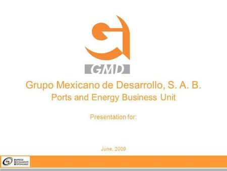 Grupo Mexicano de Desarrollo, S. A. B. Ports and Energy Business Unit Presentation for: June, 2009.