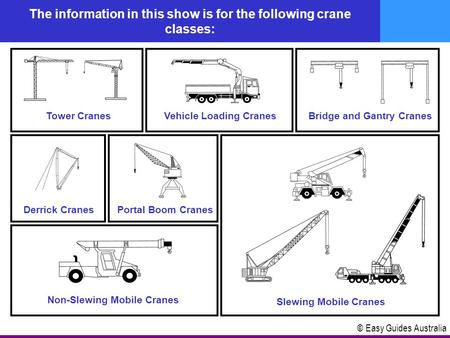 © Easy Guides Australia The information in this show is for the following crane classes: Non-Slewing Mobile CranesDerrick CranesPortal Boom Cranes Tower.