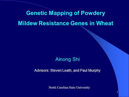 1 Genetic Mapping of Powdery Mildew Resistance Genes in Wheat Ainong Shi Advisors: Steven Leath, and Paul Murphy North Carolina State University.