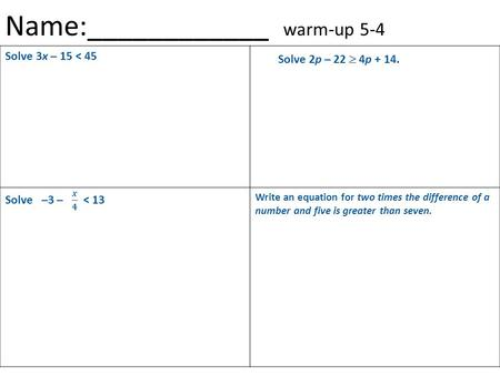 Name:____________ warm-up 5-4 Solve 3x – 15 < 45 Write an equation for two times the difference of a number and five is greater than seven. Solve 2p –