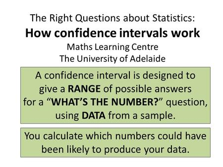 The Right Questions about Statistics: How confidence intervals work Maths Learning Centre The University of Adelaide A confidence interval is designed.