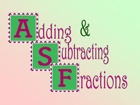 Adding & Subtracting Fractions Teacher Notes: Use this presentation to teach the steps for adding and subtracting fractions with unlike denominators.