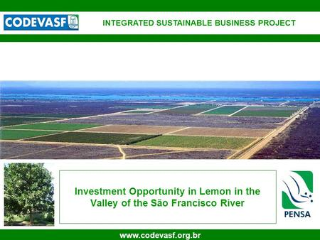 1 www.codevasf.org.br Investment Opportunity in Lemon in the Valley of the São Francisco River INTEGRATED SUSTAINABLE BUSINESS PROJECT.