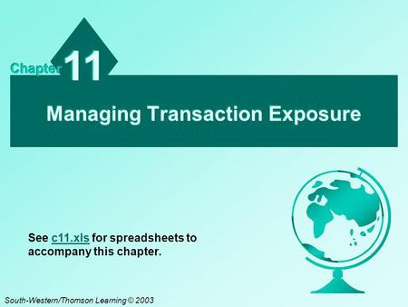 Managing Transaction Exposure 11 Chapter South-Western/Thomson Learning © 2003 See c11.xls for spreadsheets to accompany this chapter.c11.xls.