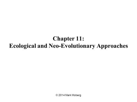 Chapter 11: Ecological and Neo-Evolutionary Approaches © 2014 Mark Moberg.