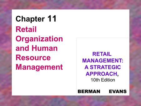 Retail Organization and Human Resource Management