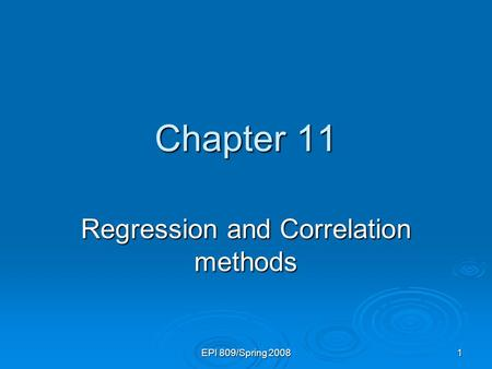 Regression and Correlation methods