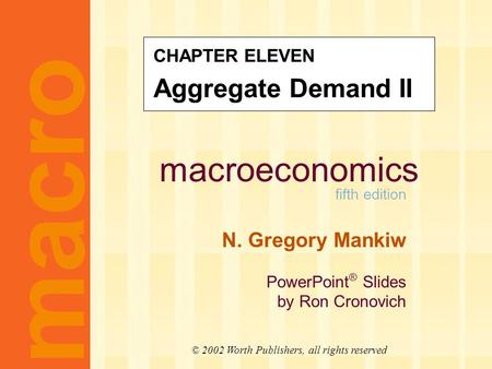 Context Chapter 9 introduced the model of aggregate demand and supply.