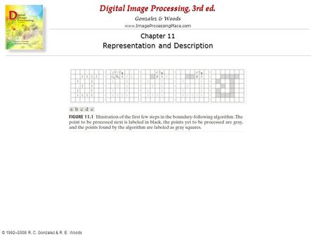Digital Image Processing, 3rd ed. www.ImageProcessingPlace.com © 1992–2008 R. C. Gonzalez & R. E. Woods Gonzalez & Woods Chapter 11 Representation and.