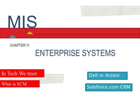 MIS ENTERPRISE SYSTEMS In Tech We trust Dell in Action What is SCM
