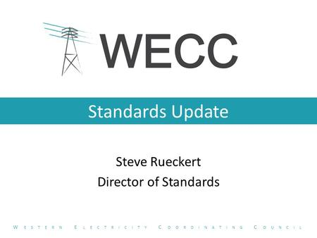 Standards Update Steve Rueckert Director of Standards W ESTERN E LECTRICITY C OORDINATING C OUNCIL.