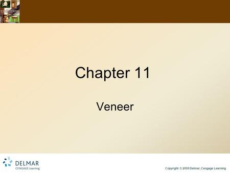 Copyright © 2009 Delmar, Cengage Learning Chapter 11 Veneer.