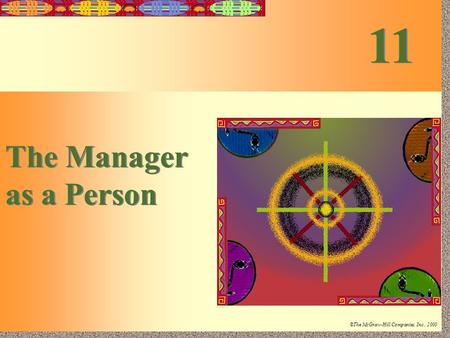 11-1 Irwin/McGraw-Hill ©The McGraw-Hill Companies, Inc., 2000 The Manager as a Person The Manager as a Person 11.